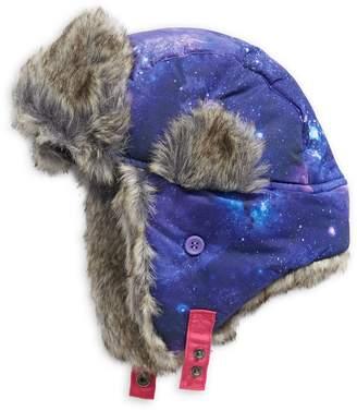 Winterproof Kid's Galaxy-Print Faux Fur-Lined Trapper Hat