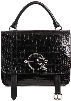 J.W.Anderson Disc Satchel Croc Embossed Leather Bag