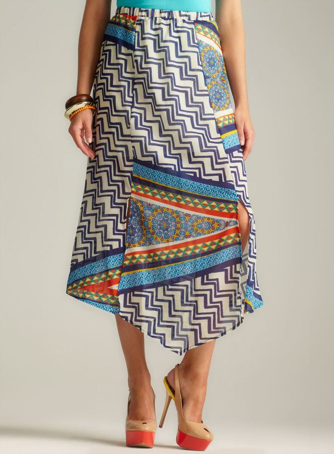 Romeo & Juliet Couture Front Slit printed Maxi Skirt