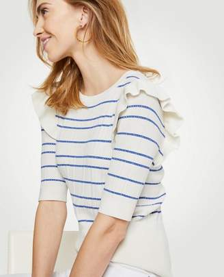 Ann Taylor Stripe Ruffle Shoulder Sweater