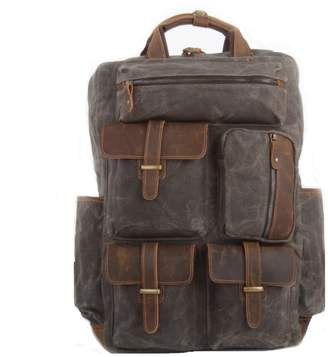 EAZO - Military Style Multi Pockets Waxed Canvas Backpack In Green