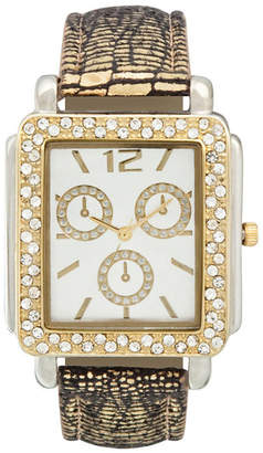 FASHION WATCHES Womens Square Crystal-Accent Glitz Strap Watch