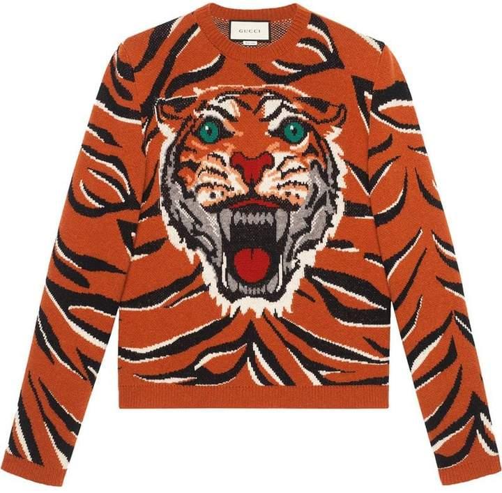 gucci tiger intarsia wool sweater herren. Black Bedroom Furniture Sets. Home Design Ideas