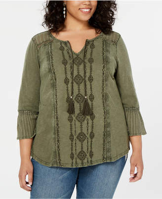 Style&Co. Style & Co Cotton Plus Size Embroidered Top