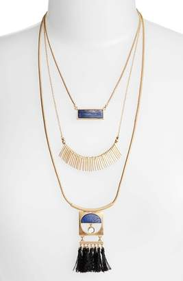 Danielle Nicole Layered Fringe Lapis Necklace