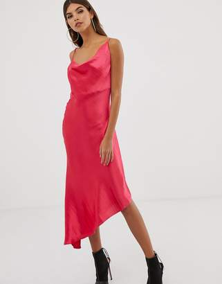 Asos Design DESIGN midi slip dress in high shine satin