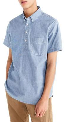 J.Crew J. CREW Short Sleeve Stretch Chambray Popover Shirt