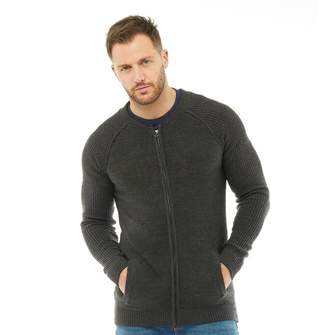 Onfire Mens Zip Cardigan Charcoal Marl