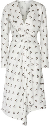 Victoria Beckham - Asymmetic Wrap-effect Printed Satin-twill Midi Dress - Off-white