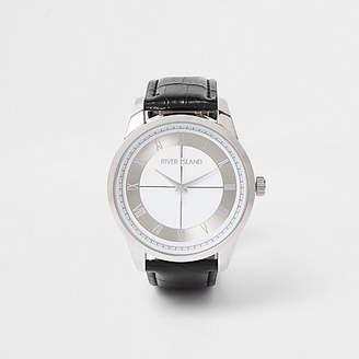 River Island Black silver tone face watch