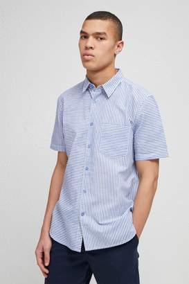 French Connenction Cotton Linen Chambray Stripe Shirt