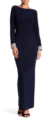 Marina Crystal Beaded Long Sleeve Gown $169 thestylecure.com