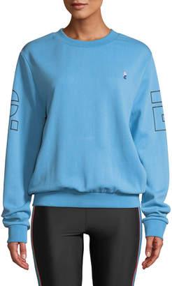 P.E Nation Moneyball Crewneck Drop-Shoulder Pullover Cotton Sweatshirt