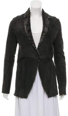 Calvin Klein Collection Shearling V-Neck Jacket