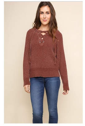 Umgee USA Chenille Drawstring Sweater