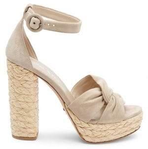 Prada Suede Raffia Platform Knotted Sandals