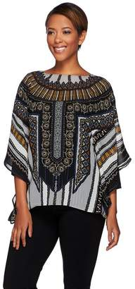 Bob Mackie Bob Mackie's Printed Caftan Top and 3/4 Sleeve Knit Top Set