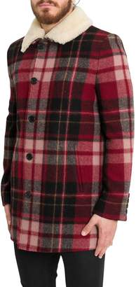 Saint Laurent Checked Trapper Jacket With Shearling Collar