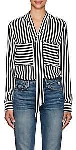 Barneys New York Women's Striped Silk Tieneck Blouse - Wht.&blk.
