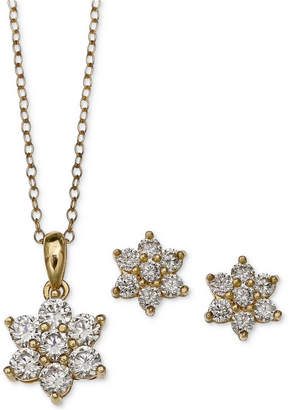 Giani Bernini Cubic Zirconia Flower Pendant Necklace and Stud Earrings Set in 18k Gold-Plated Sterling Silver and Sterling Silver, Created for Macy's