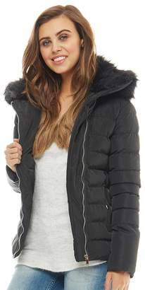 Brave Soul Womens Harley Padded Jacket With Detachable Fur Collar Black/Black