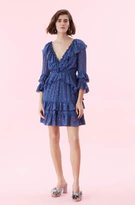 Rebecca Taylor Glitter Gem Chiffon Ruffle Dress