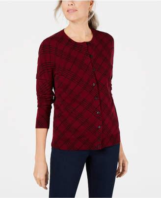 Karen Scott Plaid-Print Cardigan Sweater
