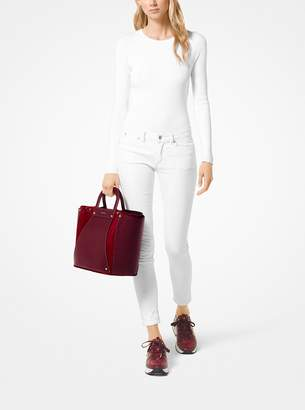 c44da58de93873 at Michael Kors · MICHAEL Michael Kors Clara Extra-Large Leather and Suede  Tote
