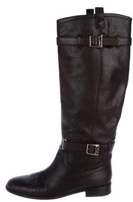 Christian Dior Leather Round-Toe Knee-High Boots