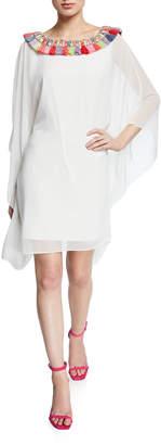 Badgley Mischka Tassel-Neck Embellished Draped-Sleeve Caftan Dress