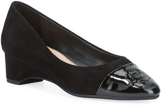 Taryn Rose Babe Patent Leather Capped Suede Ballet Pumps