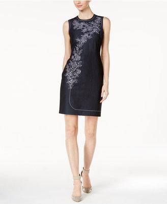 Calvin Klein Embroidered Denim Sheath Dress $134 thestylecure.com