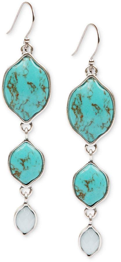 Lucky Brand Earrings, Silver-Tone Turquoise Stone Triple Drop Earrings