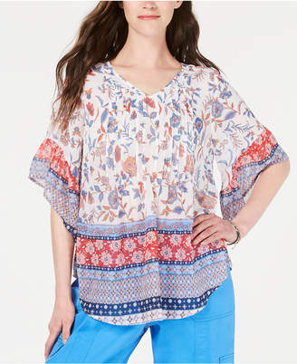 Style&Co. Style & Co Retro Scarf-Print Pintuck-Pleat Top