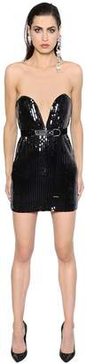 Saint Laurent Sequined Bustier Mini Dress