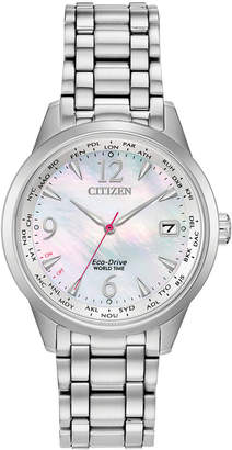 Citizen Eco-Drive Women World Time (non A-t) Stainless Steel Bracelet Watch 36mm