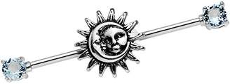 Body Candy Women's Stainless Steel Light Accent Celestial Sun and Moon Industrial Body Piercing Barbell 14 Gauge 38mm