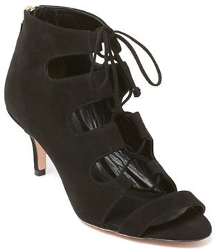 Delman Tryst Suede Lace-Up Booties $448 thestylecure.com