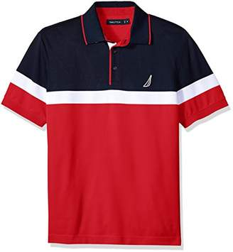 Nautica Men's Big and Tall Classic Short Sleeve Color Block Moisture Wicking Polo Shirt