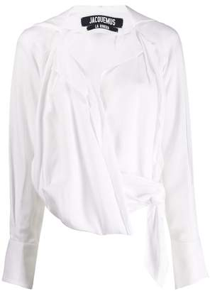 Jacquemus waist-tied draped blouse