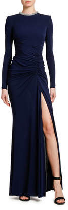 Alexander McQueen Jeweled-Neck Jersey Side-Slit Gown