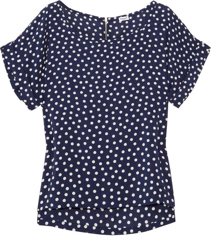 Splendid Polka-dot voile blouse