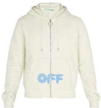 Off-White Off White Blurred Logo Hooded Cotton Sweatshirt - Mens - White