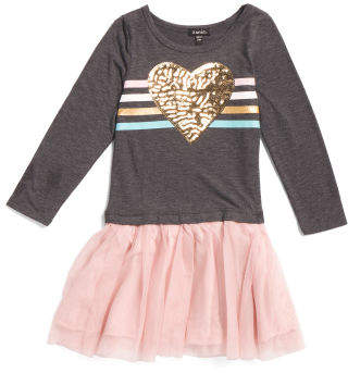 Little Girls Sequin Heart Tutu Dress