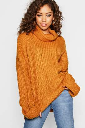 boohoo Rib Knit Wide Sleeve Turn Up Cuff Jumper