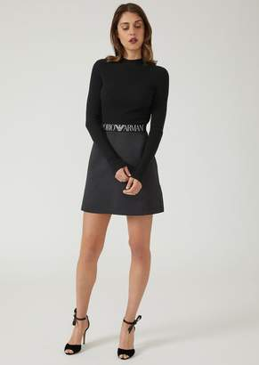 Emporio Armani Flared Mini Skirt With Elasticated Logo Band