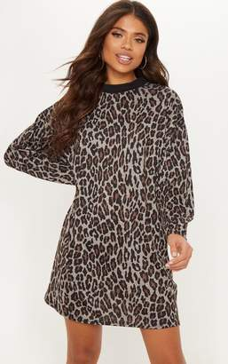 PrettyLittleThing Brown Leopard Print Oversized Jumper Dress