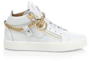 Giuseppe Zanotti Goldtone Chain Mid-Top Leather Sneakers
