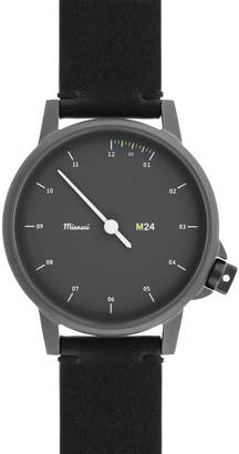 Miansai M24 Stainless Steel Watch with Leather Strap, Black