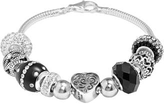 Individuality Beads Sterling Silver Snake Chain Bracelet & Crystal Heart Lock Bead Set